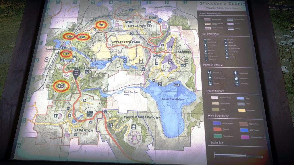In-Game map with Stephen's markings circled. (Click to enlarge)